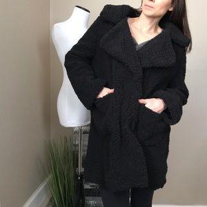 NWT C & C California Black Teddy Bear Peacoat Coat
